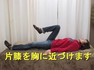 膝を曲げながら胸に近づけることで、股関節を屈曲します