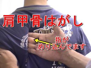 肩甲骨に指を入れる整体ストレッチ