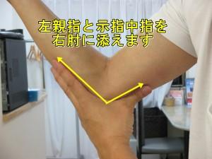 右ひじを曲げて左の親指と示指中指でVの字を作り肘に当ててつまみます。