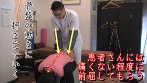 動体療法仙骨リリース。先の説明のように、患者さんに背中を丸める様に前屈していってもらいます。痛みを我慢して前屈しても筋肉が緊張してしまうので、痛くない範囲で前に屈みます。その動きに合わせて仙腸関節を押さえて解放していきます。