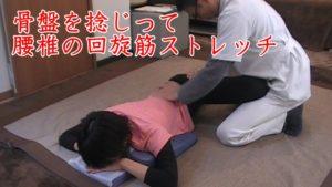 股関節のインナーマッスルだけでなく、腰椎部分の脊柱起立筋回旋筋も骨盤を捻じってストレッチ
