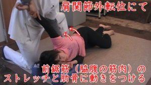 坐骨神経痛をかばっていると、上半身に負担が来るので肋骨からの肩甲骨の動きを創る脇腹の筋肉(前鋸筋)を動的ストレッチする。